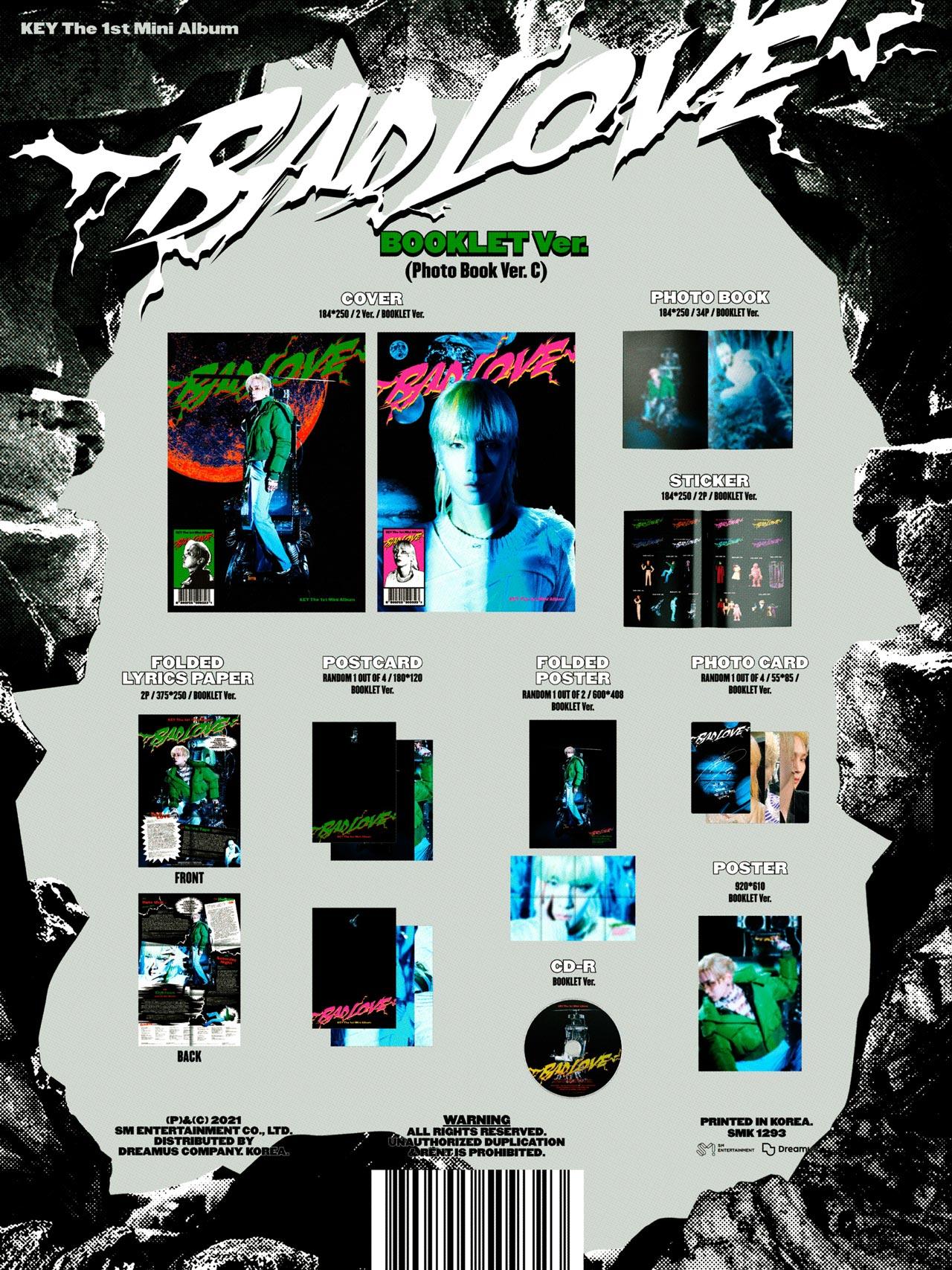 """Key 1st Mini Album """"Bad Love"""" Photobook C – Booklet Ver. (2 Covers)"""